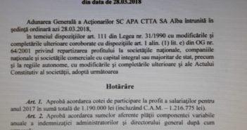 DOCUMENTE : În timp ce județul Alba este măturat de ape, conducerea societății APA CTTA este bombardată cu PRIME SPECTACULOASE